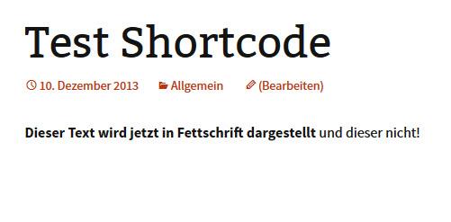 Beispiel WordPress Shortcode