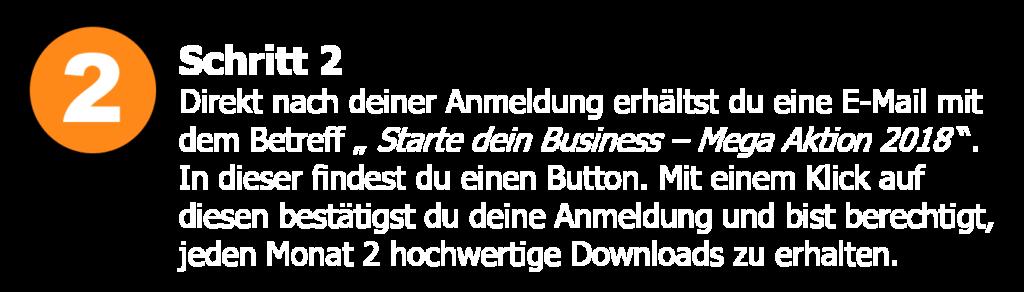 Starte dein Business - Anmeldung bestätigen