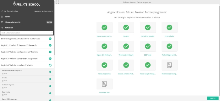 Affiliate School Masterclass - Kapitel Fortschritt