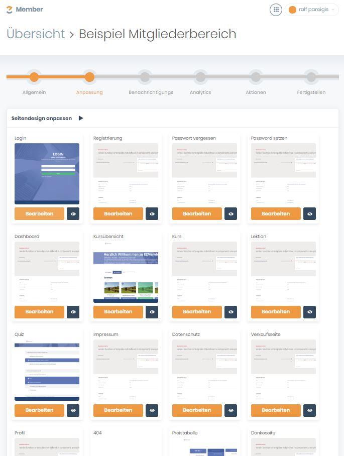 EZ Page - Anpassungen im Mitgliederbereich