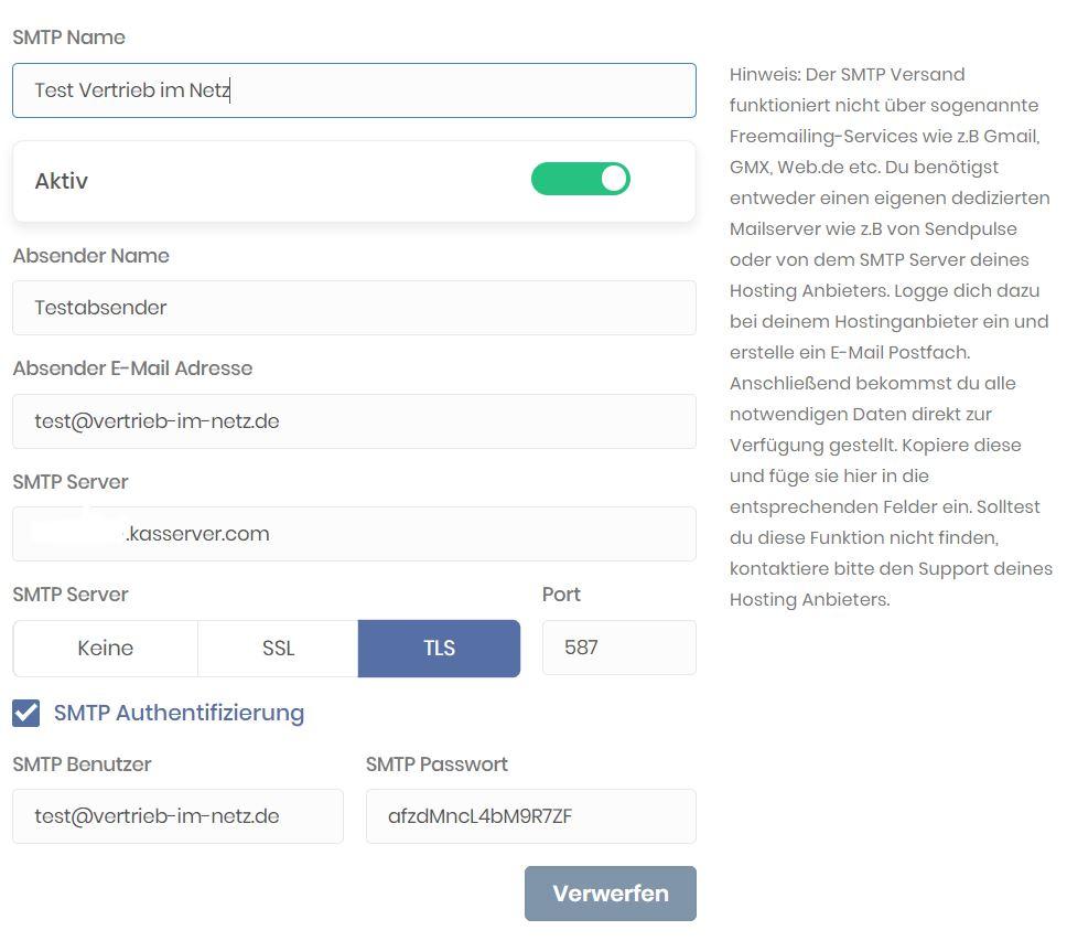EZ Page Einstellungen - Daten übertragen